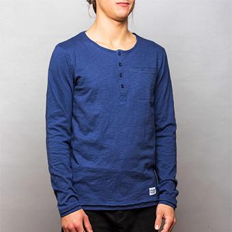 Bamboo LS Henley Shirt - Marinblå