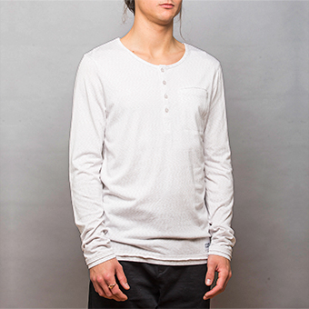Bamboo LS Henley Shirt - Space White