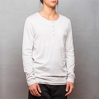 Bamboo LS Henley Shirt - Vitmelerad