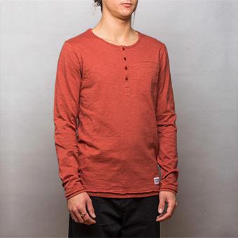 Bamboo LS Henley Shirt - Red Ochre