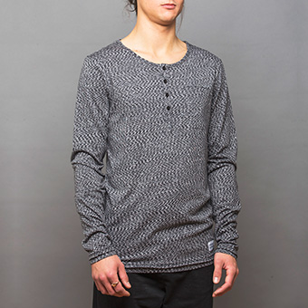 Bamboo LS Henley Shirt - Space Black