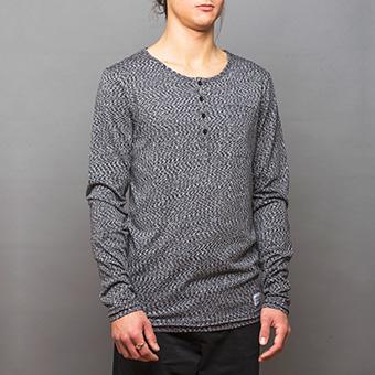 Bamboo LS Henley Shirt - Svartmelerad