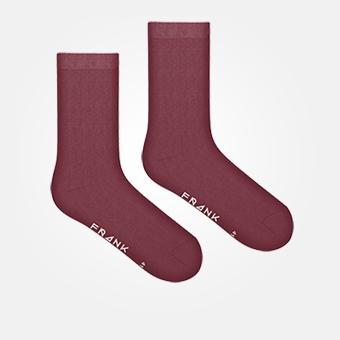 Dark Red - Bamboo Solid Crew Sock