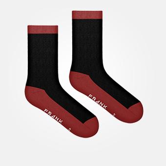 Dark Red - Bamboo Contrast Crew Sock