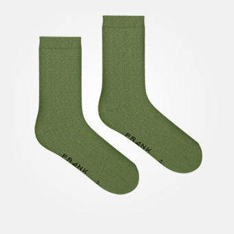 Bamboo Solid Crew Sock - Military Green
