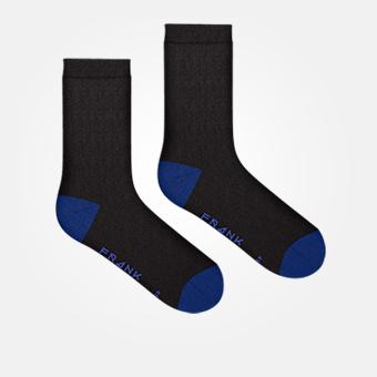 Bamboo Heel & Toe Crew Sock - Black/Dark Blue