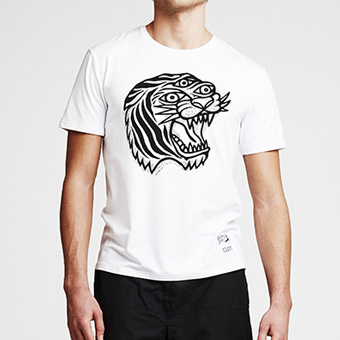 Bamboo Straight Tee Tiger - White